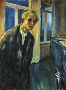 Autorretrato. El caminante nocturno. Obra de Edvard Munch, también noruego y contemporáneo a Hamsun