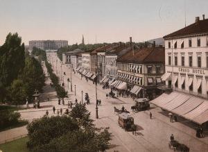 Christiania. Fuente: Carl Johans Gade med Slottet